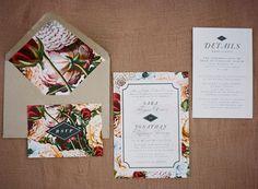 Modern Floral Print Wedding Invitations | Emily Katharine Photography | http://heyweddinglady.com/rustic-lakeside-brunch-wedding-film-photography/