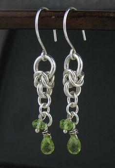 Green Peridot Chainmail Earrings Peridot от LoneRockJewelry