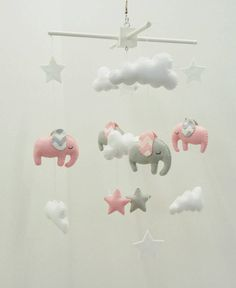 Light Pink And Grey Elephants Baby Mobile With Chevron Ears Cute Little Nursery Made To Order