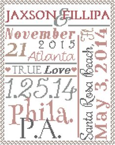 Cross Stitch Pattern: Modern Wedding Record Typography Poster Style with Wedding Location Details Personalized Cross Stitch Chart by oneofakindbabydesign on Etsy Wedding Cross Stitch Patterns, Modern Cross Stitch Patterns, Counted Cross Stitch Patterns, Cross Stitch Designs, Atlanta, Cross Stitch Love, Typography Poster, Needlework, Beach