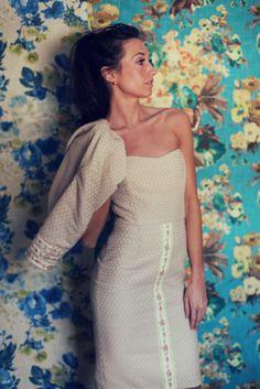 Floral strapless beige bolero easter dress marusya