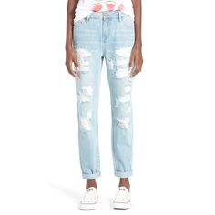 Junior Fire Distressed Boyfriend Jeans (€42) ❤ liked on Polyvore featuring jeans, runaway light wash, destroyed boyfriend jeans, ripped boyfriend jeans, white jeans, destructed boyfriend jeans and ripped jeans