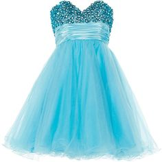ANOUSHKA G Ella luxurious tulle prom dress ($125) ❤ liked on Polyvore featuring dresses, blue, short dresses, blue dress, vestidos, clearance, blue babydoll dress, baby doll dress, short mini dress and prom dresses