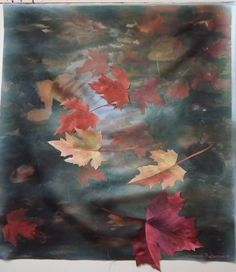 Floating leaves - Having added a lot more dye-work to the river, I am now pinning on maple leaves to try different arrangements of floating leaves.