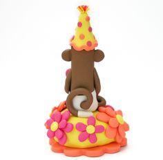 Sock Monkey Birthday Cake Topper Baby Girl First B-day
