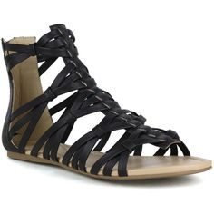 Mark and Maddux Women's Brandon-02 Gladiator Strappy Sandal ($40) ❤ liked on Polyvore featuring shoes, sandals, black, black gladiator sandals, black platform sandals, flat leather sandals, black strap sandals and strappy sandals