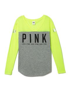 PINK Limited Edition Baseball Tee ($17) ❤ liked on Polyvore ...