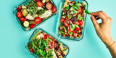 Three healthy meal prep pasta dishes in tupperware containers