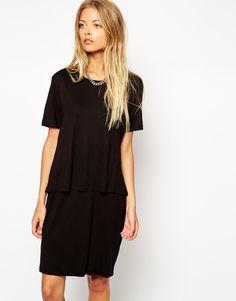 Image 1 ofASOS T-Shirt Dress with Overlay