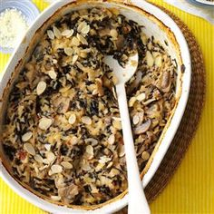 Wild Rice Mushroom Bake Recipe -The wild rice adds a wonderful flavor to this casserole. I like to serve it on special occasions.