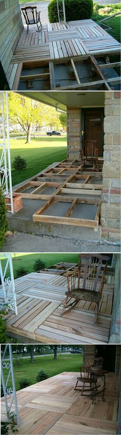 DIY Pallet Wood Front Porch or deck/patio in back yard Pallet Crafts, Pallet Projects, Home Projects, Diy Crafts, Wood Pallets, Pallet Wood, Diy Pallet, Pallet Porch, Diy Wood