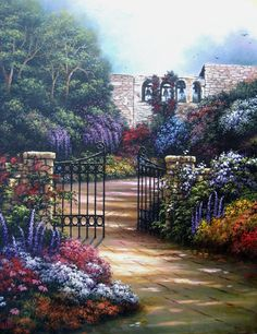 Bells and Blossoms Oil Painting garden by VickieWadeFineArt, $115.00