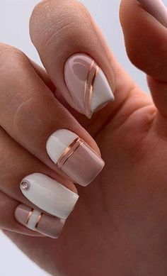 Incredible White Nail Art Ideas To Try Right Now - Beauty Alsoshe White Nail Designs, Nail Designs Spring, Nail Art Designs, White Nail Art, White Nails, Cute Pink Nails, Finger, Pink Manicure, Modern Nails