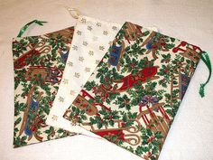 Christmas Holiday Gift Bags Set of 3 Handcrafted Cotton by mrnglry, $9.50