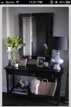 Entryway Decor Ideas ~ Remember to put a mirror in the entryway -- Entryway Table Decor Entryway Decor, Entryway Tables, Entryway Ideas, Console Tables, Apartment Entryway, Entrance Table Decor, Front Entry Decor, Entryway Table Modern, Accent Table Decor