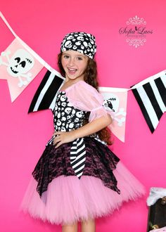 Pirate costume Custom Boutique Pink Pirate tutu by primafashions