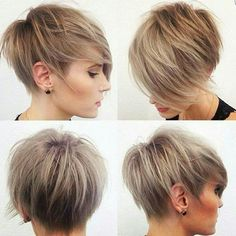 Caramel and Ash Blonde Swept Pixie Cut