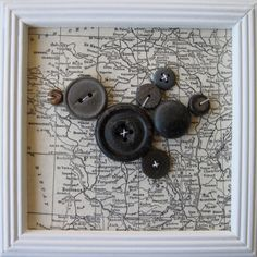 """Bird Button Art on Map of France in 5"""" x 5"""" Painted White Frame - Original Art. via Etsy."""