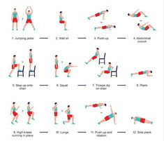 """Is this seven-minute workout all you need? This 12 exercise routine, performed in rapid succession, uses intervals to work muscles and heart. Scientists say it's just as good as a long run. """"The 12 station regime should see each exercise conducted 15 to 20 times, in 30 seconds, with only five to 10 seconds """"rest"""" between each one. The whole circuit (which can be repeated two to three times) should take about seven minutes and Jordan says to do it no more than three or four times a week."""""""