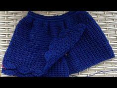 DY/short saia em croche simples e fácil de fazer - YouTube Crochet Baby Sweaters, Crochet Pants, Crochet Skirts, Love Crochet, Crochet Shawl, Crochet Clothes, Diy Clothes, Knit Crochet, Crochet Bikini Pattern