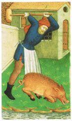 Le cochon du marché  - 9) EXTRAORDINAIRE EGLISE SOUTERRAINE: Déjà au XVII°s le marché et le cimetière se disputaient la place et il n'était pas rare que les cochons s'échappent de leur enclos, envahissent le cimetière et commencent à chercher la truffe sous les tombes. Ainsi le 6 mai 1687, l'archevêque de Bordeaux accepte-t-il de céder un peu du cimetière aux marchands à condition que ces derniers bâtissent un muret séparant efficacement l'un et l'autre.