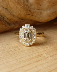 Emerald Cut Diamond Halo Ring Deposit by kateszabone on Etsy, $1,000.00