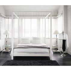 Lit à baldaquin 160 x 200 cm en bois blanc