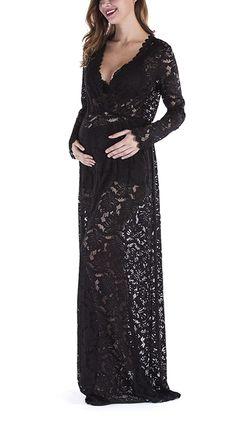 b2faecf9c108d Yomoko Maternity Photography Dress Sexy Deep V-Neck Long Sleeve Lace  See-Through Maxi