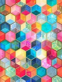 Crystal Bohemian Honeycomb Cubes - colorful hexagon pattern  Art Print by Micklyn #hexagons #color #patterns