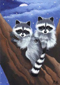 ACEO Print Raccoon Baby Moon Stars | eBay