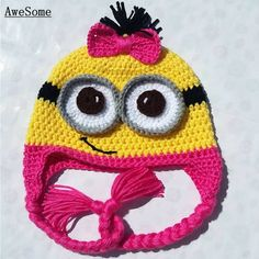 Crochet ear flap hat with braided tails, inspired from the movie Despicable Me. This is a handmade item. Made to order. AVAILABLE SIZES (in inches) Minions, Minion Hats, Crochet Beanie Hat, Beanie Hats, Minion Crochet, Baby Girl Accessories, Little Girl Gifts, Baby Girl Hats, Kids Hats