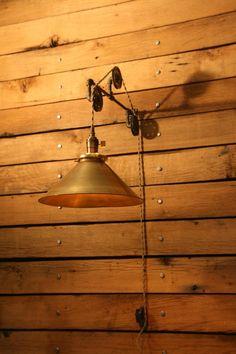 Just Custom Lighting - Listings View 12 Brass Shade On Industrial 3 Pulley Wall Mount Pulley Wall Sconce Hand Spun Brass Shade Pendant Light.... #handmadelighting #lighting #custom #lamps #homedecor