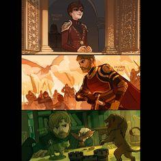 Cersei, Jaime & Tyrion Lannister, Game of Thrones, Kelsey Eng Dessin Game Of Thrones, Game Of Thrones Artwork, Game Of Thrones Tv, Game Of Thrones Funny, Jon E Daenerys, Khaleesi, Live Action, Game Of Trones, Kings Game
