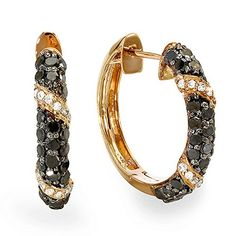 100 Carat ctw Plated 18k Rose Gold Sterling Silver Ladies Black  White Diamond Hoop Earrings 1 CT * You can get additional details at the affiliate link Amazon.com.
