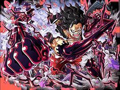'Luffy Gear 4 Snake man - One Piece' Canvas Print by Raed-D-Artist One Piece Manga, One Piece Series, One Piece Drawing, One Piece Comic, One Piece World, One Piece Fanart, One Piece Gear 4, Luffy Gear Fourth, Luffy Gear 4