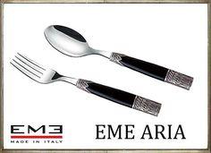 イタリア製★EME ARIA/エメ・アリア カトラリー ブラック(デザートフォーク・デザートスプーン)