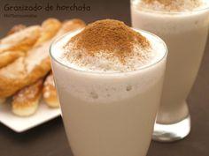 Granizado de horchata - MisThermorecetas Horchata, Sorbets, Healthy Juices, Cakes And More, Smoothies, Glass Of Milk, Mousse, A Food, Caramel