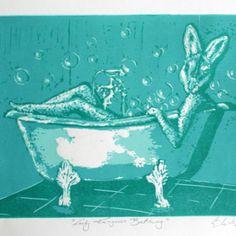Lady_Kangaroo_Bathing_Linocut_Michalina
