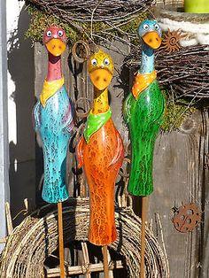 Zaunhocker Beetstecker Figur Vogel schlank Dekoration Zaun Garten Terrasse Beet