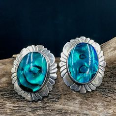 Turquoise And Blue Aventurine Sterling Silver Earrings Abalone