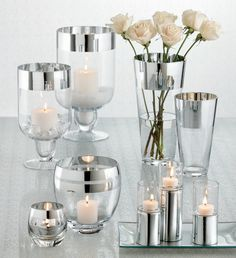 shimmering tabletop centerpieces and home decor: silver-trimmed glass candles and vases. perfect for a little added wedding bling Diy Wedding Decorations, Centerpiece Decorations, Denim And Diamonds, Best Candles, Diy Candles, Bling Wedding, Home Decor Inspiration, Wedding Inspiration, Decor Ideas
