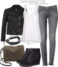 Splendid v neck top / AllSaints leather jacket / Hudson Jeans clothing / H&M wedge sneaker, $40 / Jérôme Dreyfuss brown purse / King Baby Studio sterling silver bracelet