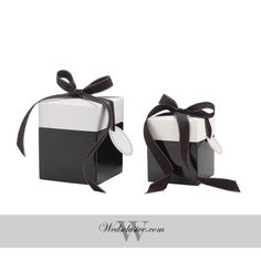 Classy Black Favor Boxes , Gift Boxes - Set of 10  These beautiful favor boxes always make gift giving easy; pop open the box, tie a bow with the included ribbon and write a quick note on the gift tag. Thats it, all done!  Sizes : Mini - 3 x 3 x 3.5 inches Small - 4 x 4 x 3.75 inches Medium - 5 x 5 x 6 inches  ** Orders for 100+ boxes will get discounted rate. Please message us for a quote.    ♥♥ Perfect for weddings, anniversaries, birthdays, etc. ♥♥ SHOP FOR MORE WEDDING ITEMS…