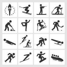 Winter sports black & white royalty free vector icon set vector art illustration