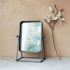An industrial-inspired dressing table mirror crafted from antique zinc with a pivoting mirror. Industrial Mirrors, Industrial Table, Pink Gray Bedroom, Salon Mirrors, Mirror Crafts, Metal Plant Stand, Dressing Table Mirror, Round Mirrors, Colored Glass