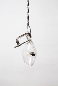 Clamp Light in dark pewter finish with clear glass
