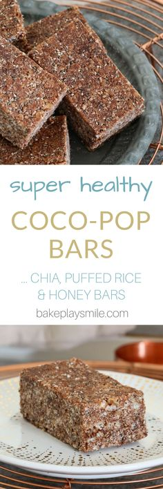 Super Healthy Coco-Pop Bars If you're after a yummy lunchbox snack, these Healthy Coco-Pop Bars are exactly what you need! Made with honey, chia seeds & coconut oil…. they're the perfect alternative to the sugar-filled store bought varieties! Healthy Bars, Healthy Snacks For Kids, Healthy Baking, Healthy Desserts, Healthy Drinks, Easy Desserts, Dessert Recipes, Healthy Slices, Easy Snacks