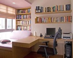 Love the book shelves, day bed, and desk