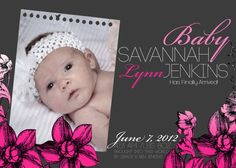 Violet Pink Flower New Born Personalize Baby Girl Picture Baby Announcement Card by PURPLEgalore on Etsy, $14.00
