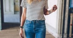 Sharing some simple fall style outfit inspiration with Anthropologie wearing skinny jeans and stripe tee. Fall Fashion Outfits, Jean Outfits, Ladies Dress Design, Striped Tee, Autumn Winter Fashion, Skinny Jeans, Style Inspiration, My Style, Tees